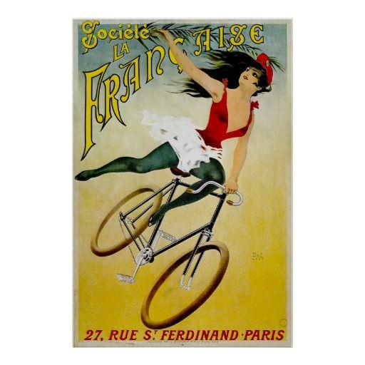 Copie vintage d'annonce de bicyclette de Francaise Poster