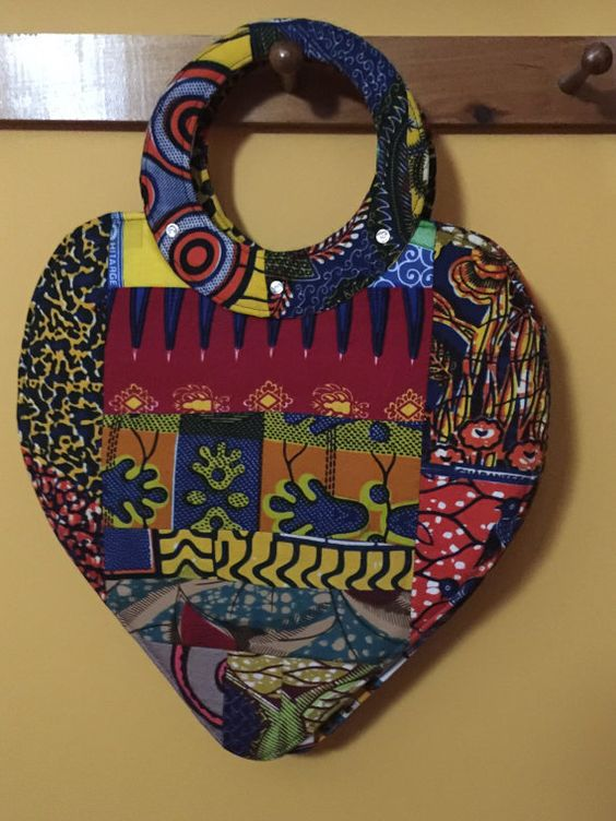 African Purse Heart Bag Valentine Bag African Ankara by Sandoodles