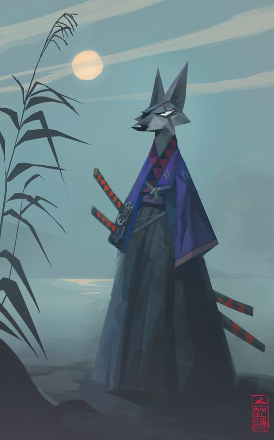 Yubei, Samurai Wolf. Concept created for facebook's Character Design Challenge!!
