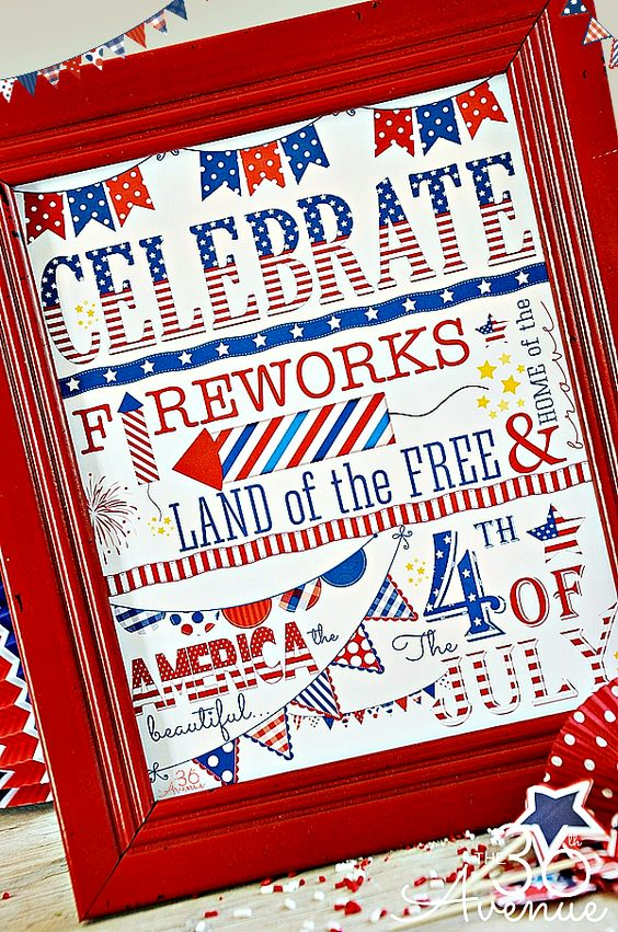 4th of July Printable... Print it for free at the36thavenue.com: