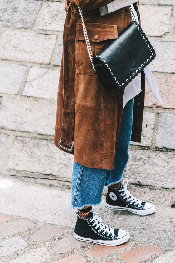 long suede jacket paired with cropped frayed denim and high top sneakers…