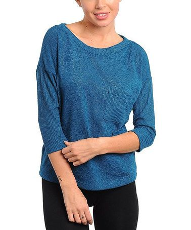 Take a look at this Teal Boat-Neck Sweater by Buy in America on #zulily today!