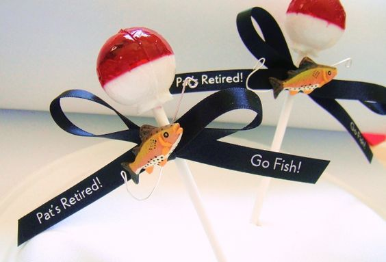 Lollipops that look like fishing bobbers, clever favors for a retirement party!