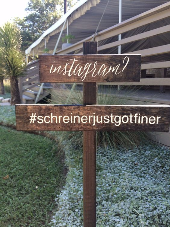 Instagram Hashtag Rustic Wedding Sign Lawn Stake by WoodAndInkCo: