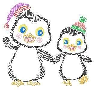 """Squiggly Penguins How cute are these guys? Includes two sizes: for the 4""""x4"""" hoop and for the 5""""x7"""" hoop> Intro Priced for a limited time!  From Mary Britt."""