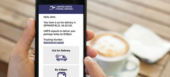 Image of a tracking email open on a smartphone  - free change of address form online