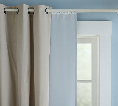 Blackout Drape Liner #potterybarn--how cool is this?  On this link see the video for hanging drapes