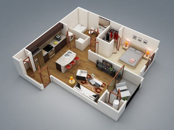 50 One 1 Bedroom ApartmentHouse Plans House plans Bedroom