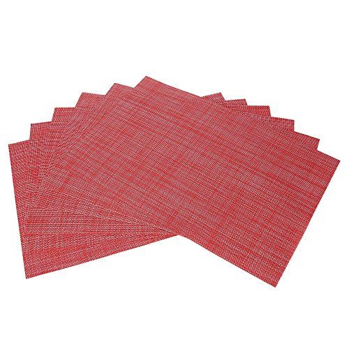 Table Mats Set Of 6 Tennove Cross Weave Woven Vinyl Placemat For Dining Table Washable Kitchen Table Matsred Det Placemats Christmas Placemats Kitchen Table
