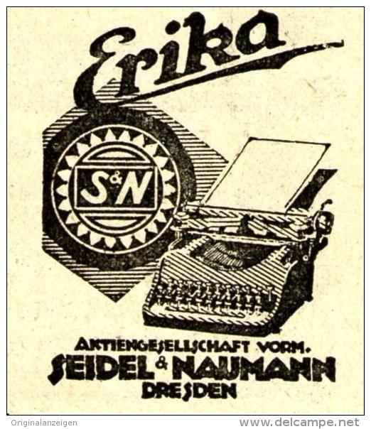 Original-Werbung/ Anzeige 1922 -  ERIKA SCHREIBMASCHINE / SEIDEL & NAUMANN DRESDEN  -  ca. 40 x 45 mm
