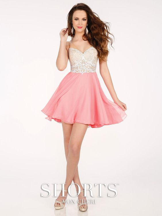 MCS11604 Shorts By Mon Cheri. short prom dress. pink and silver ...