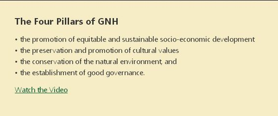 The Four Pillars of GNH (Gross National Happiness)