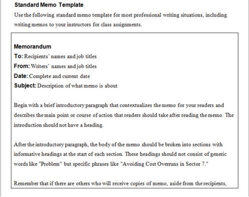 business memo templates