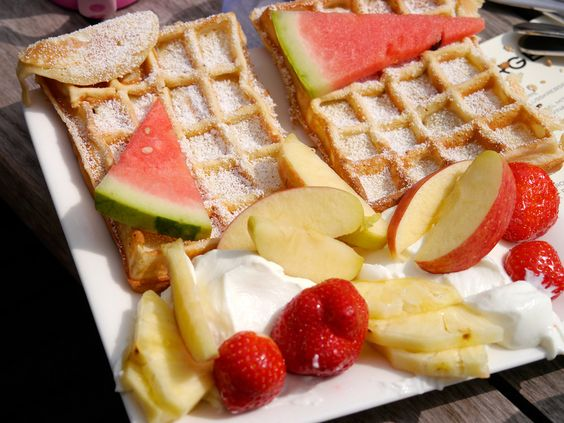 dessert: waffle with fruit and cream