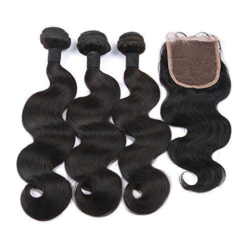 Ohlees® 7A cher Brazilian Virgin Hair Human Extensions capillaires Cheveux brésiliens vierges Remy 100% humains tissage couleur naturelle…