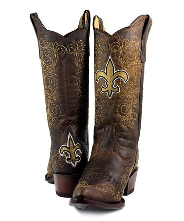 Old Pro Leather Goods Co. New Orleans Saints Flyover Cowboy Boot ...