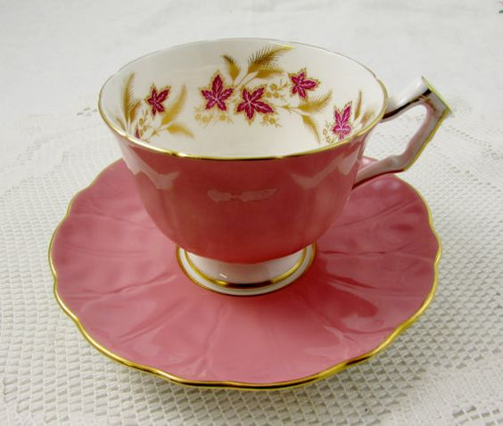 Aynsley Pink Tea Cup and Saucer with Pink Flowers, Antique Tea Cup, English Bone China