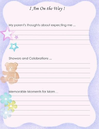 Baby Book Cover Template ~ Free printable baby book page quot i am on the way