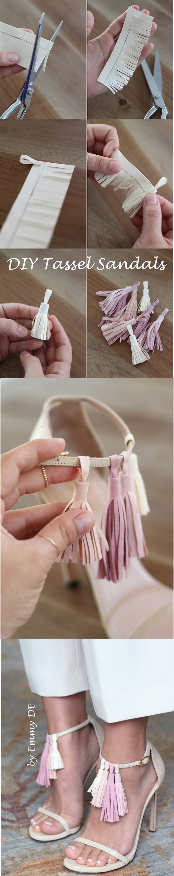 Emmy DE * DIY Tassel Sandals ~ You'll need: strappy sandals (here Stewart Weitzman Nudist ), 8 pieces of 5×5 ultra suede fabric (2 of each color), fabric glue, fabric shears, ruler, pen (images by HonestlyWTF):