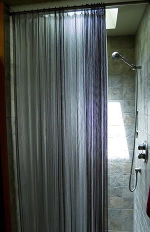Curtains Ideas chain mail curtains : Flat chainmail curtain used as shower curtain | close the door ...