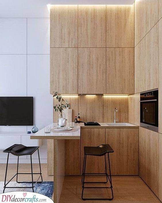 A Natural Ambience A Simplistic Tiny Kitchen In 2020 Small Modern Kitchens Minimalist Kitchen Design Modern Kitchen