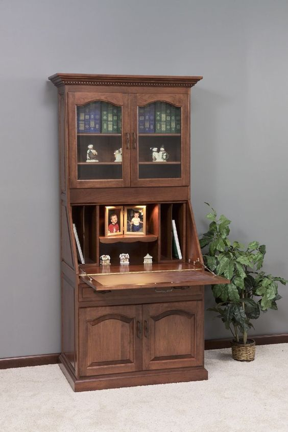 amish executive deluxe secretary desk with hutch top secretary desks desks and office spaces
