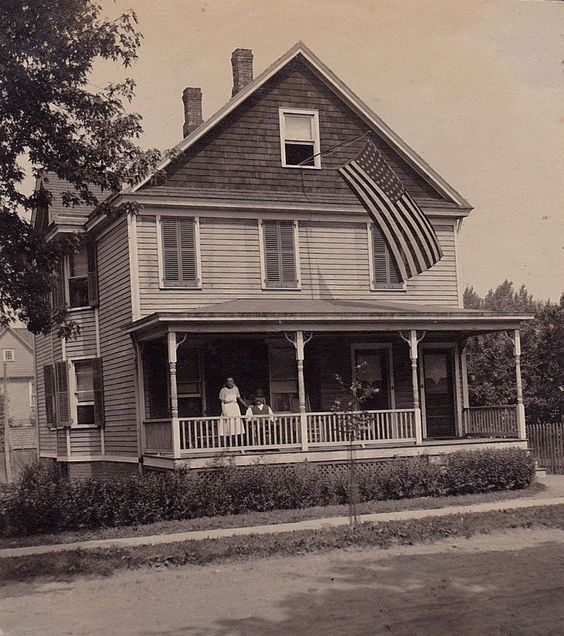 Old Vintage Antique Photograph Old Time Country Home House American Flag US