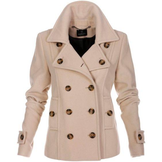 Jacket (2.410 NOK) ❤ liked on Polyvore featuring outerwear, jackets, lapel jacket, pea coat, pea jacket, fleece-lined jackets and embellished jacket