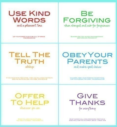 "family rules supported with scriptures. we were thinking of some different wording and rules like ""obedience"" and ""respect."""
