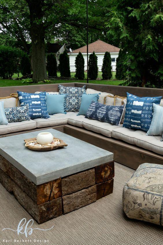 Outdoor Patio Design Ideas Featuring Diy Outdoor Sectional Diy
