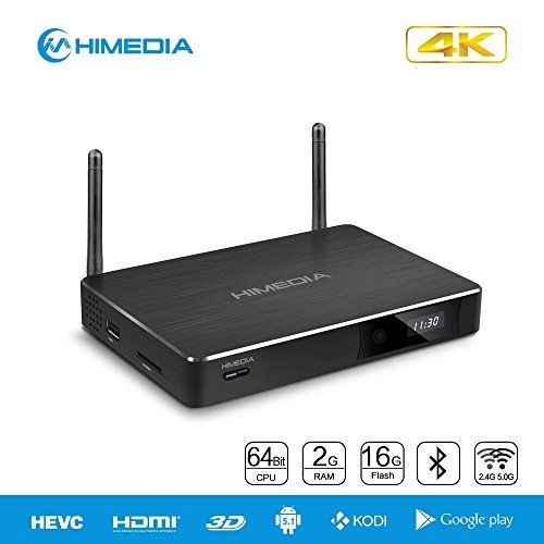 HiMedia H8 Plus 64-bit Octa-Core Android 5.1 Lollipop TV Box 2GB RAM 16GB ROM RK3368 Chipset 4K 3D Network Media Player BD-ISO and H.265 Support 1000M Lan Dual Band Wifi Bluetooth 4.0