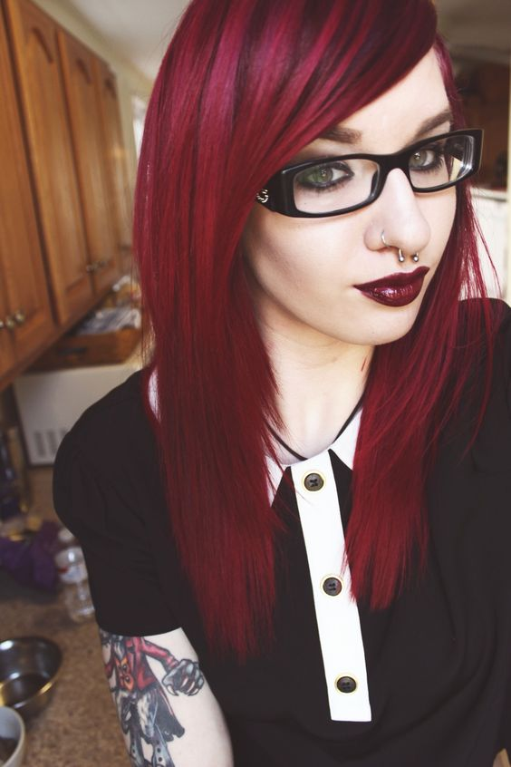 The color I want to dye my hair. Revamped. Nose. Piercing. Grunge. Tattoos. Septum Piercing. Glasses Chique. Cherry. Cola. Red. Two Thumbs Up. Cherry Red Lips. Black  White. #RetroGrungeChique