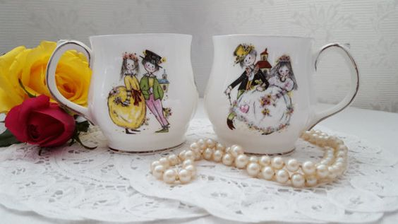 Vintage Wedding Fine Bone China Coffee/Tea Mugs by Royal Windsor, England…