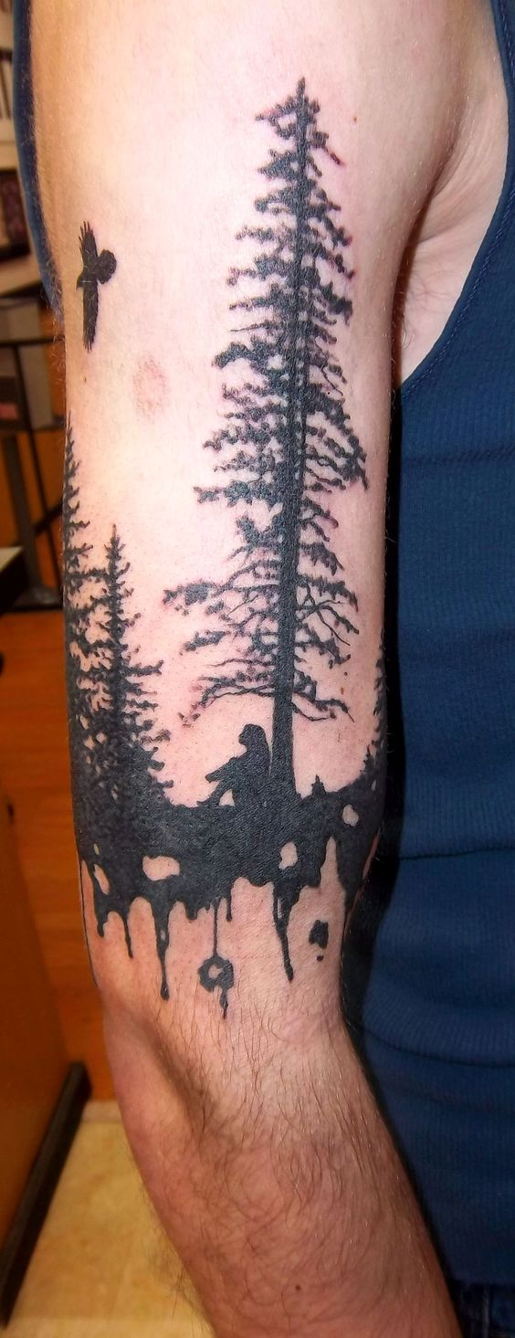 Tree tattoos silhouette and tattoos and body art on pinterest for Female silhouette tattoo