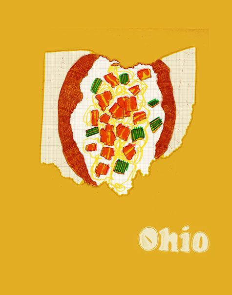 "Ohio imagined as a ""loaded baked potato with chives, bacon and cheddar cheese"" from the ""United Plates"" series by artist John Holcomb.    Visit www.shorthandedstudio.com for more United Plates, and www.discoveramerica.com for travel ideas in Ohio!  © John Holcomb"