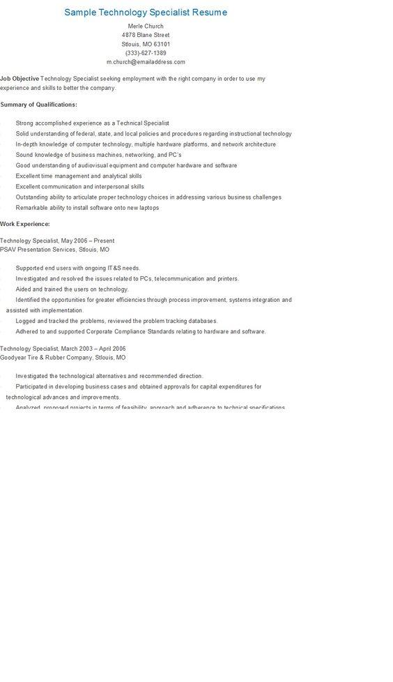 Sample Supply Management Specialist Resume resame Pinterest