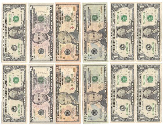 Pretend Toy Money : Fake money for kids printable sheets play black