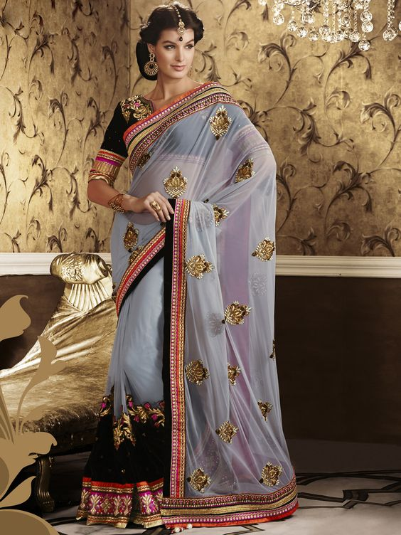 G3 Fashion Decent net grey ceremonial saree Price: ₹ 8,730.00 To view more details http://goo.gl/05C1yE