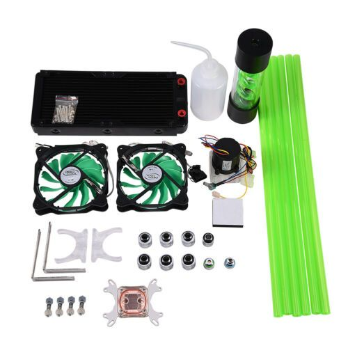 100 57 Pc Liquid Water Cooling Kit 240mm Radiator Cpu Block 2 Led Fan Pump Reservoir Water Cooling Fans For Sale Diy Pc