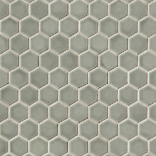 Provincetown 1 11 16 X 1 1 2 Floor Wall Mosaic In Monument Grey Hexagonal Mosaic Hexagon Mosaic Tile Glazed Ceramic Tile