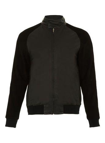 Black Leather Bomber Jacket*