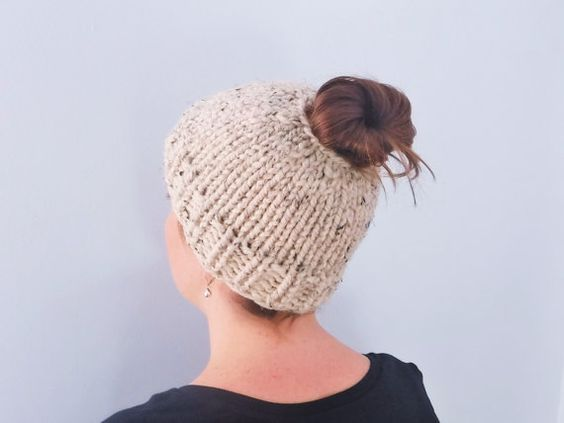 Messy Bun Hair Ponytail Top Knot Hat - Chunky Knit Winter Beanie Wool Blend -...