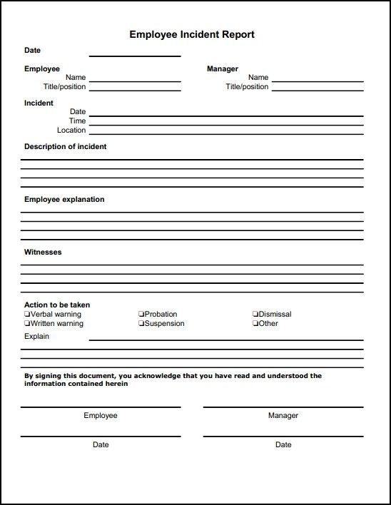 Incident Report Form Free Download Incident Report Form Incident Report Employee Handbook Template