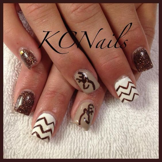Gel polish. Brown, white, tan. Browning and chevron hand painted details  KCNails