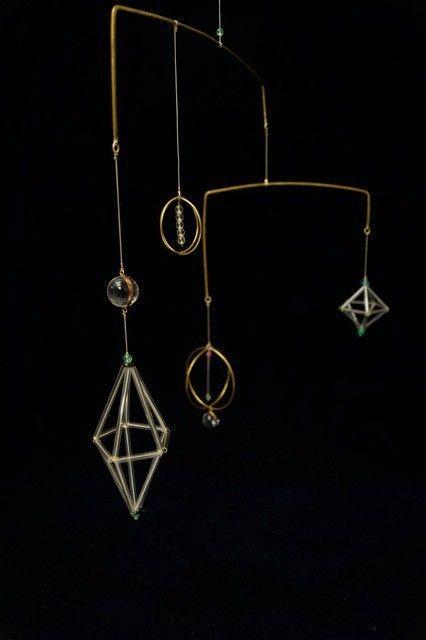 "glass brass mobile <cosmos> - ""響"" handcraft"