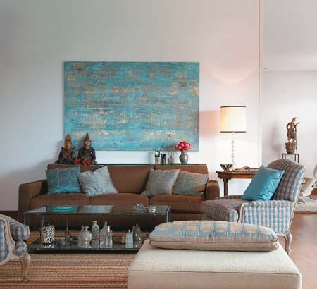 Sala marrom azul salas pinterest - Sofa azul turquesa ...