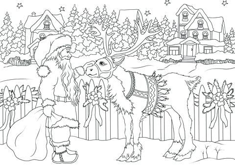 12 Cute Santa Clipart Retro Style Santa Coloring Pages Merry