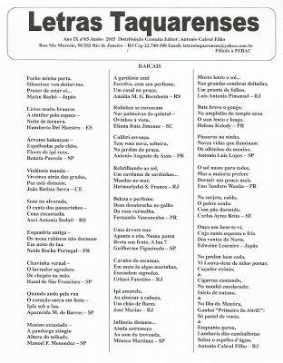 * GRUPO DE HAICAIS CAMINHO DA PEDRA NEGRA *: Letras Taquarenses / Haicais * Antonio Cabral Filh...