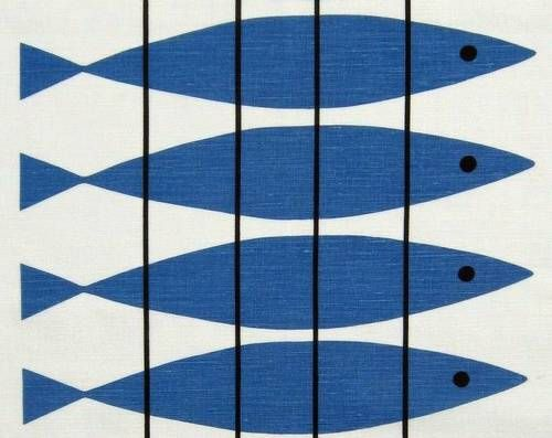 Scandinavian 50s Print Vtg Design Fabric Herring Marianne Nilson DIY Picture   eBay