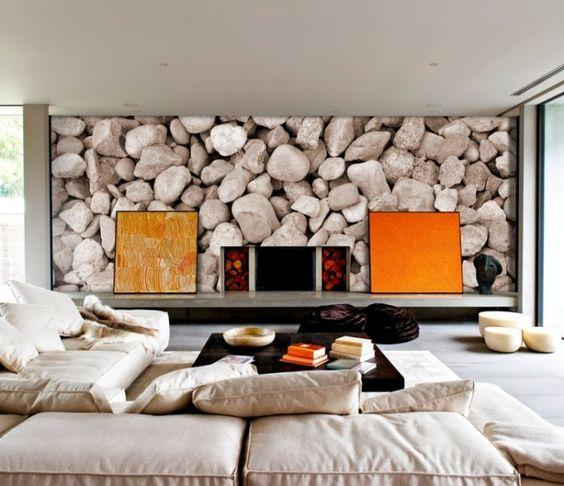 salon scandinave moderne amnag avec un canap rembourr blanc table basse en bois brun - Model Ede Salon Moderne Blanc